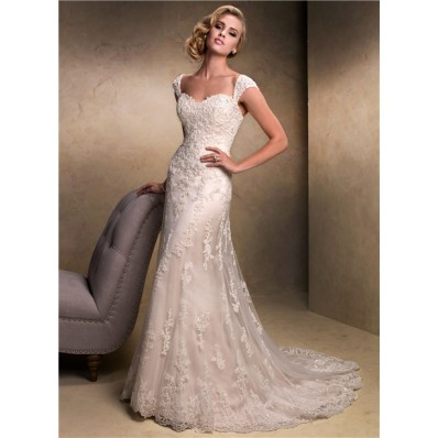 Slim A line Sweetheart Champagne Colored Lace Wedding Dress With Detachable Straps