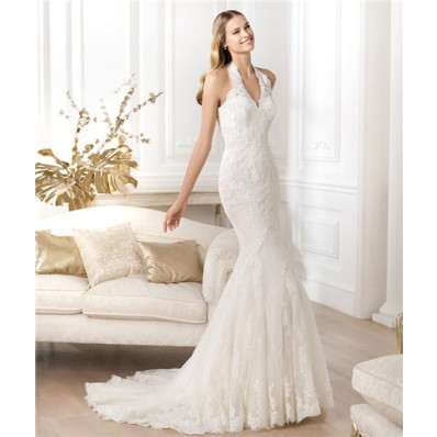 Slim Fitted Mermaid Halter Beaded Lace Wedding Dress With Buttons