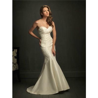 Slim Fitted Mermaid Sweetheart Ivory Taffeta Lace Wedding Dress With V Back