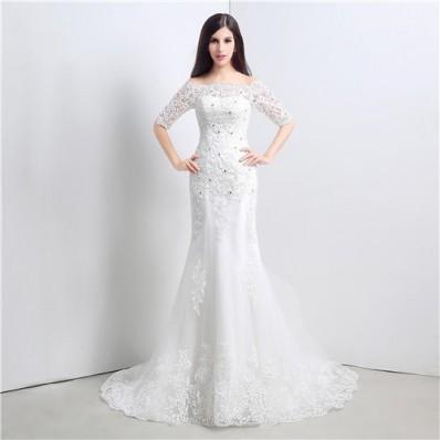 Slim Mermaid Off The Shoulder Short Sleeve Lace Wedding Dress Corset Back