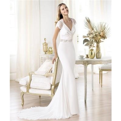 Slim Sheath V Neck Cap Sleeve Satin Lace Chiffon Wedding Dress With Buttons