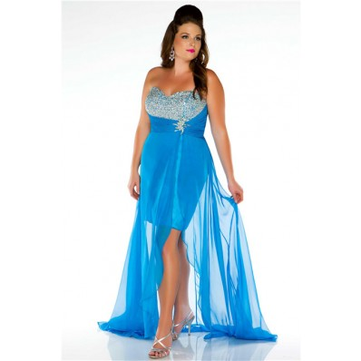 Strapless Empire Waist High Low Blue Chiffon Beaded Plus Size Party Prom Dress