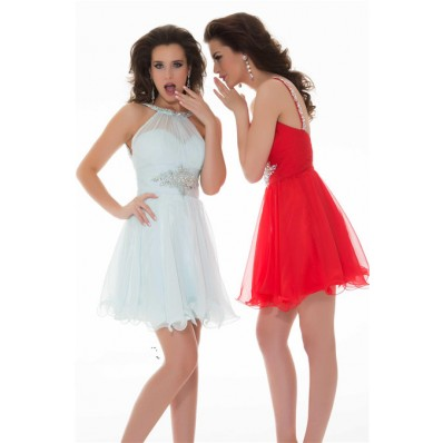 Stunning A Line Halter Short Light Blue Chiffon Beaded Homecoming Party Prom Dress