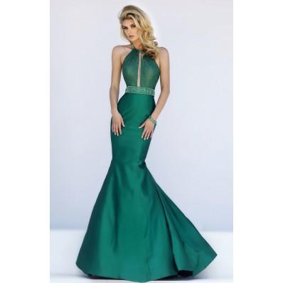 Stunning Mermaid Halter Cut Out Dark Green Taffeta Prom Dress Open Back