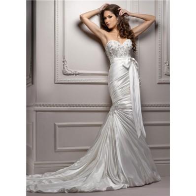 Stunning Mermaid Sweetheart Ruched Satin Wedding Dress With Sash Crystal