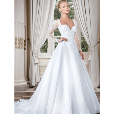 Stunning Sweetheart Long Sleeve Organza Tulle Beaded Wedding Dress With Buttons