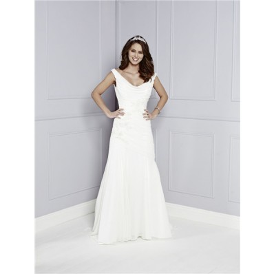 Traditional Couture A Line Cowl Neck And Back Chiffon Lace Beaded Wedding Dress Buttons