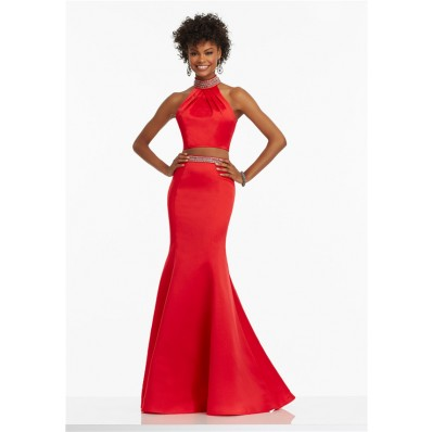 Trumpet Halter Open Back Two Piece Red Satin Beaded Prom Dress