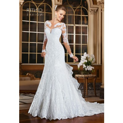 Trumpet Illusion Neckline Long Sleeve Lace Wedding Dress With Ruffle Train