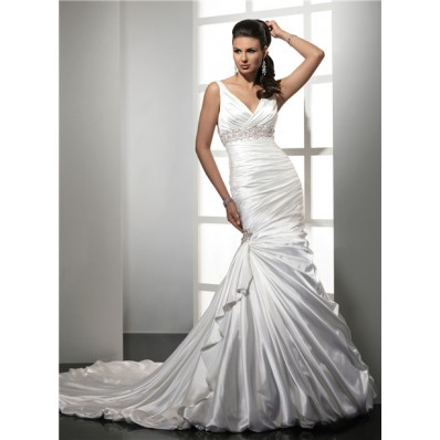 Trumpet/ Mermaid Empire V Neck Satin Wedding Dress With Straps Beading Pleat