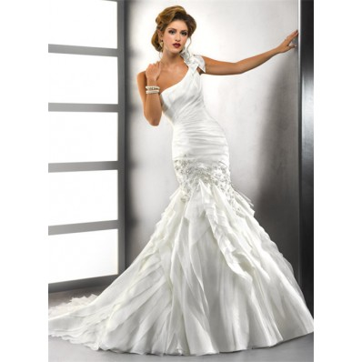 Trumpet/ Mermaid One Shoulder Tiered Organza Wedding Dress With Crystals Applique