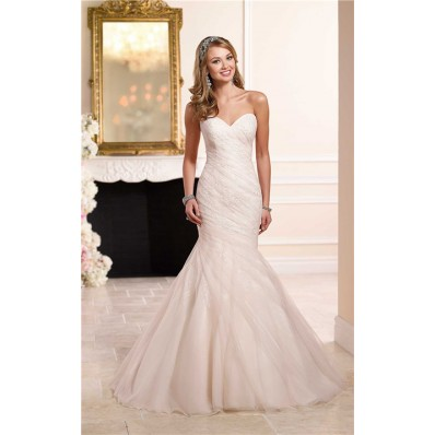 Trumpet Mermaid Sweetheart Ivory Satin Blush Pink Tulle Ruched Wedding Dress