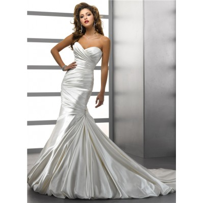 Trumpet/ Mermaid Sweetheart Ivory Satin Wedding Dress With Crystal Buttons Bows