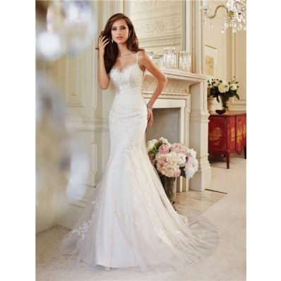 Trumpet Mermaid Sweetheart Neckline Spaghetti Strap Corset Back Tulle Lace Beaded Wedding Dress