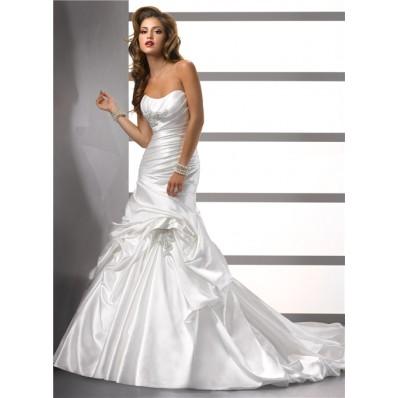 Trumpet/ Mermaid Sweetheart Satin Wedding Dress With Pick Up Skirt Beading Pleat