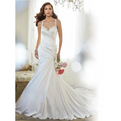 Trumpet Mermaid Sweetheart Sheer Illusion Back Draped Satin Lace Wedding Dress With Straps
