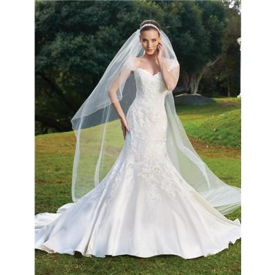 Trumpet/Mermaid cap sleeve court train satin wedding dress with appliques