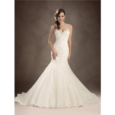 Trumpet/Mermaid sweetheart chapel train beaded lace wedding dress