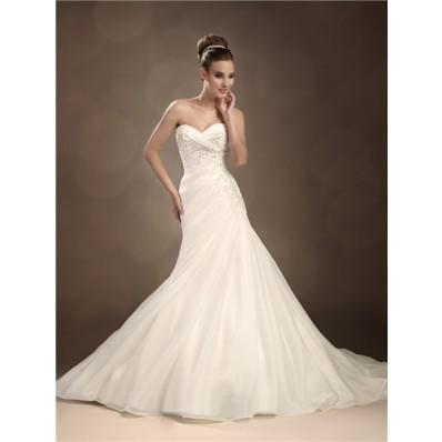 Trumpet/Mermaid sweetheart chapel train organza wedding dress with crystals
