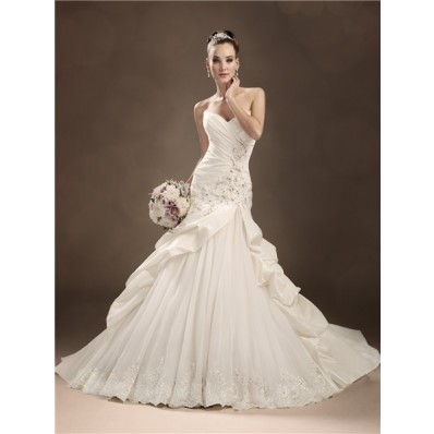Trumpet/Mermaid sweetheart chapel train taffeta beaded wedding dress