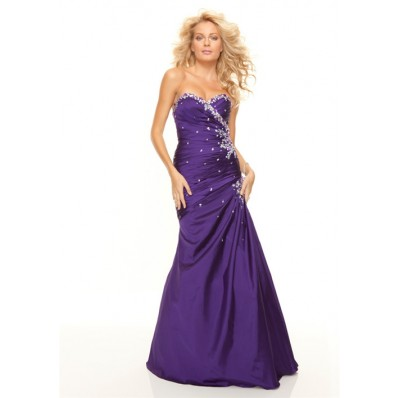 Trumpet/Mermaid sweetheart floor length purple taffeta prom dress with beading