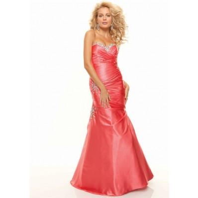 Trumpet/Mermaid sweetheart floor length watermelon beaded taffeta prom dress