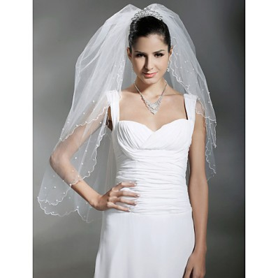 Two Layers White Tulle Wedding Bridal Veil With Pearls