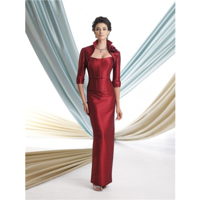two piece suit burgundy taffeta corset mother of the bride