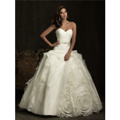 Unique Ball Gown Sweetheart Layer Organza Rose Flower Wedding Dress