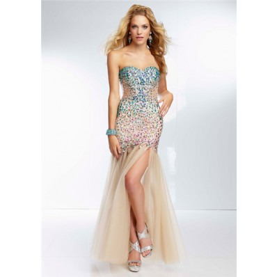 Unique Mermaid See Through Long Champagne Nude Tulle Beaded Prom Dress With Slit
