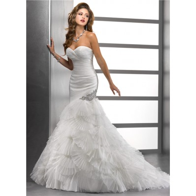 Unique Mermaid Sweetheart Pleated Tulle Wedding Dress With Fan Flowers Crystal
