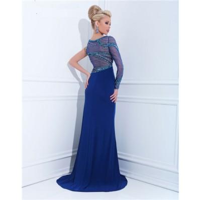 Unique Sheath One Shoulder Sheer Long Sleeve Royal Blue Chiffon Beaded Prom Dress