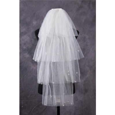 Unusual Tiered Tiers Tulle Beaded Pearls Fingertip Length Wedding Bridal Veil
