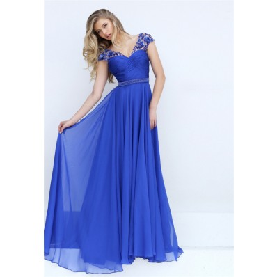 V Neck Cap Sleeve Open Back Long Royal Blue Chiffon Flowing Prom Dress
