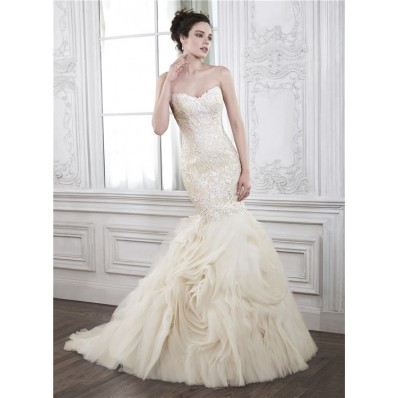 Vintage Mermaid Sweetheart Champagne Lace Organza Ruffle Wedding Dress Corset Back