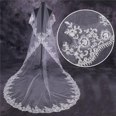 Vintage One Tier Tulle Lace Long Chapel Wedding Bride Veil
