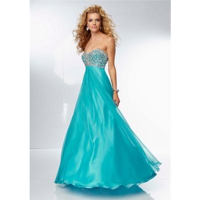 A Line Sweetheart Empire Waist Open Back Long Turquoise Chiffon Prom Dress