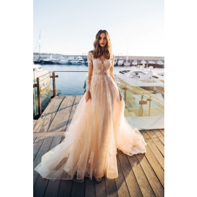 A Line Long Sleeve Wedding Dress See Through Tulle Lace