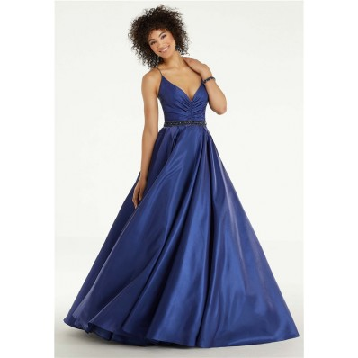 Charming A Line Spaghetti Strap Navy Silk Prom Dress