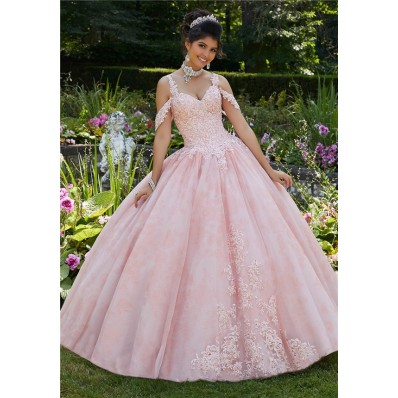Charming Ball Gown Prom Dress Light Pink Tulle Lace Quinceanera Dress Cold Shoulder