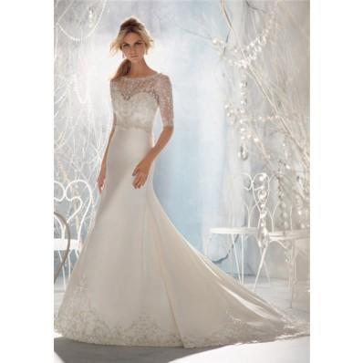 Mermaid Illusion Neckline Low Back Short Sleeve Satin Tulle Lace Beaded Wedding Dress