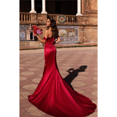 Mermaid Evening Dress Red Silk Satin Off The Shoulder High Slit With Train