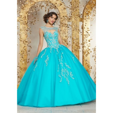 Quinceanera Dress Ball Gown Aqua Tulle Beaded Cut Out Prom Dress