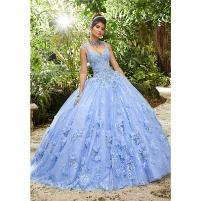 Quinceanera Dress Ball Gown Prom Dress Light Blue Lace Flower With Straps