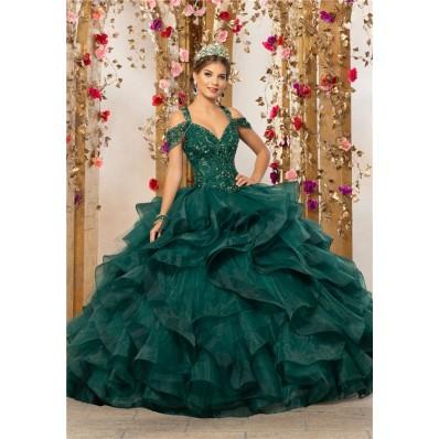 Quinceanera Dress Ball Gown Puffy Dark Green Organza Ruffle Beaded Prom Dress