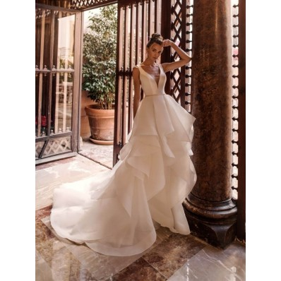 Romantic Wedding Dress Deep V Neck With Organza Ruffles