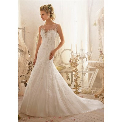 Sexy A Line Bateau Sheer Illusion Neckline Deep V Back Lace Beaded Wedding Dress