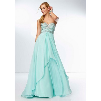 A Line Sweetheart Neckline Long Aqua Chiffon Beaded Party Prom Dress Open Back