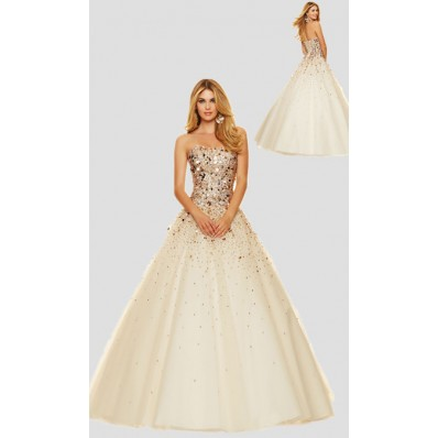 Sparkly Ball Gown Strapless Champagne Tulle Gold Beaded Corset Prom Dress