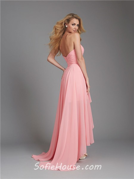 A Line Sweetheart High Low Coral Chiffon Ruched Wedding ...